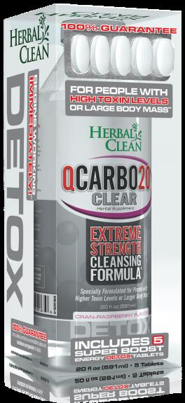 20 OZ Qcarbo Herbal Clean Detox: 591ml Cran Raspberry + 5 Boost Tablets