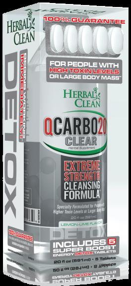 20 OZ Qcarbo Herbal Clean Detox: 591ml Lemon Lime + 5 Boost Tablets