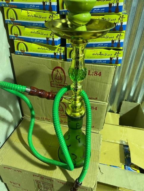 Green and Gold Hookah Set